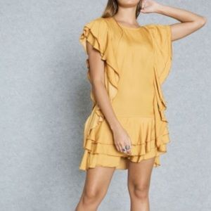 Misguided 0 yellow night out formal ruffle dress
